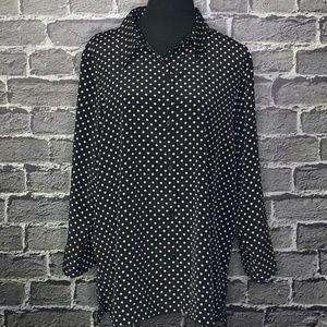 Susan Graver QVC Black White Plus Sz 1X Blouse